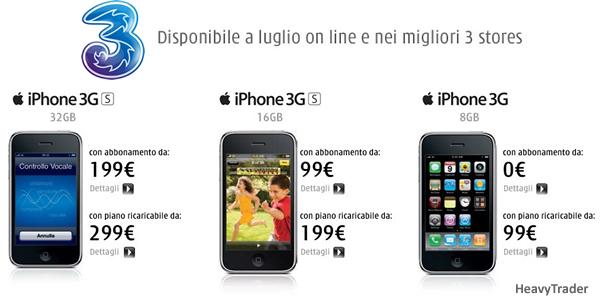 iPhone 3GS: sono ufficiali le tariffe di Tre Italia (H3G)