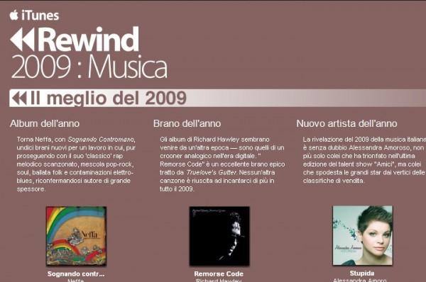 iTunes Rewind 2009: Apple pubblica il meglio dell'anno
