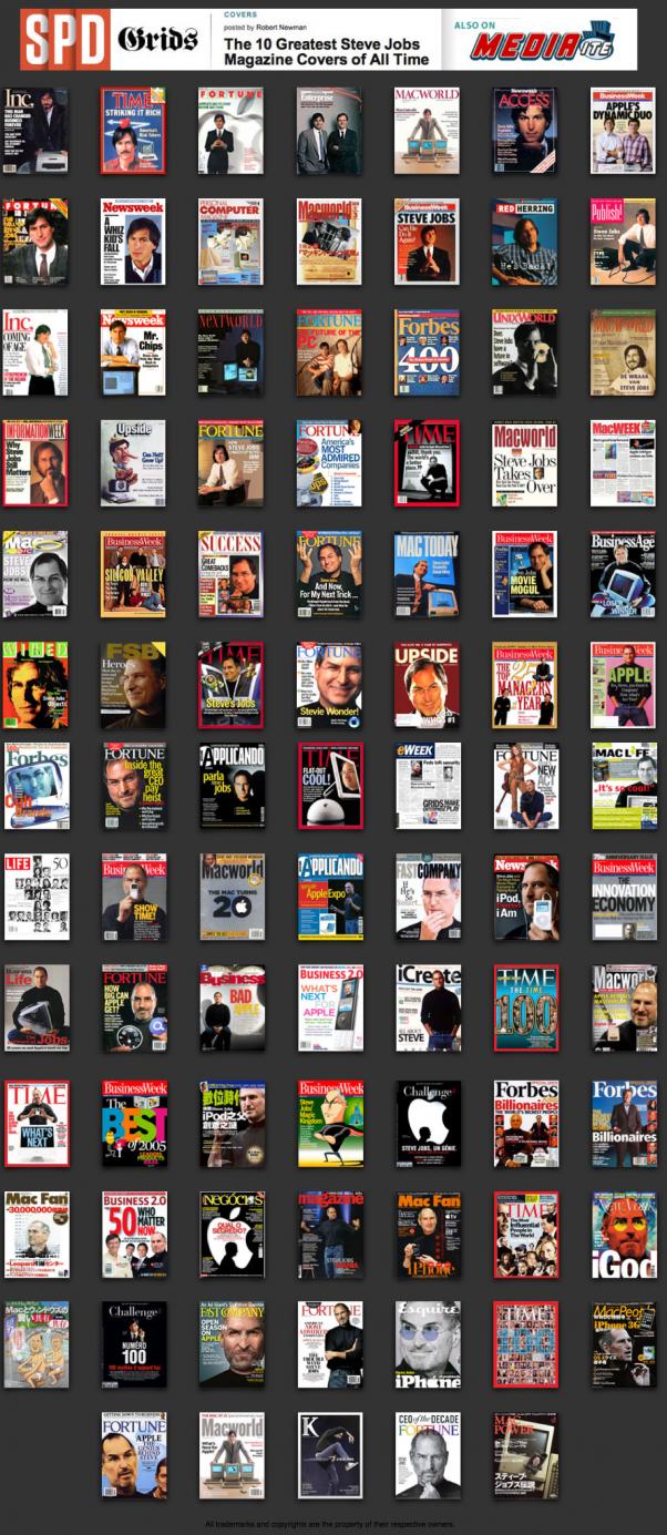Steve Jobs 89 copertine in 30 anni…