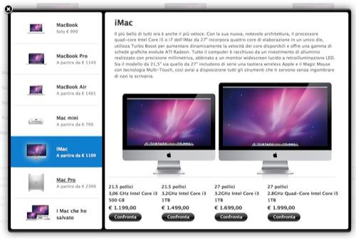 Confronta i Mac direttamente dall'Apple Store